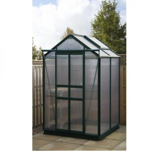 Sandon 4x4 Green With Polycarbonate Greenhouse Warehouse